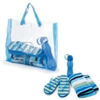 Набор пляжный: сумка, полотенце, бутылка для воды, шлепанцы.